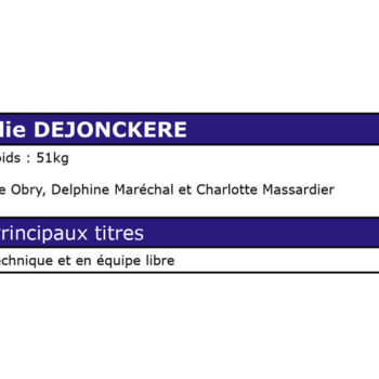 Palmarès d'Amélie DEJONCKERE