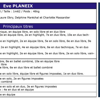 Palmarès d'Eve PLANEIX